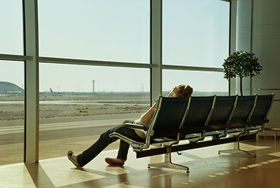 Jet lag at an airport