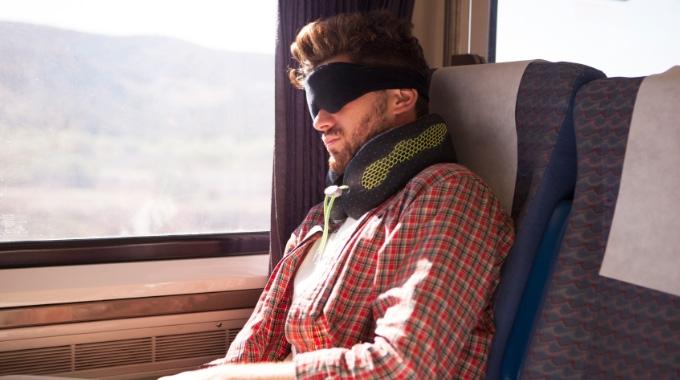 Sleeping on train
