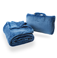 Cabeau Travel Fold-n-Go Blue Blanket with Travel Case