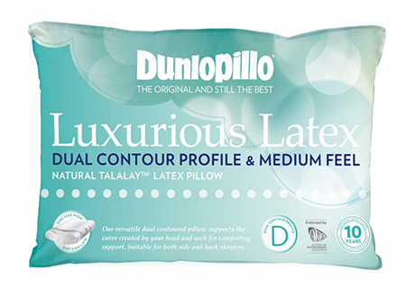 Dunlopillo Luxurious Latex Pillow Contour Dual Profile and Medium Feel