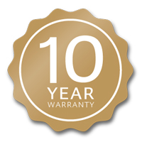 10-year guarantee against faulty material & workmanship