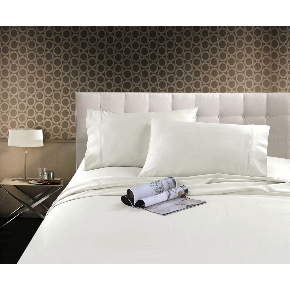 300TC Cotton Sateen Sheet Set White