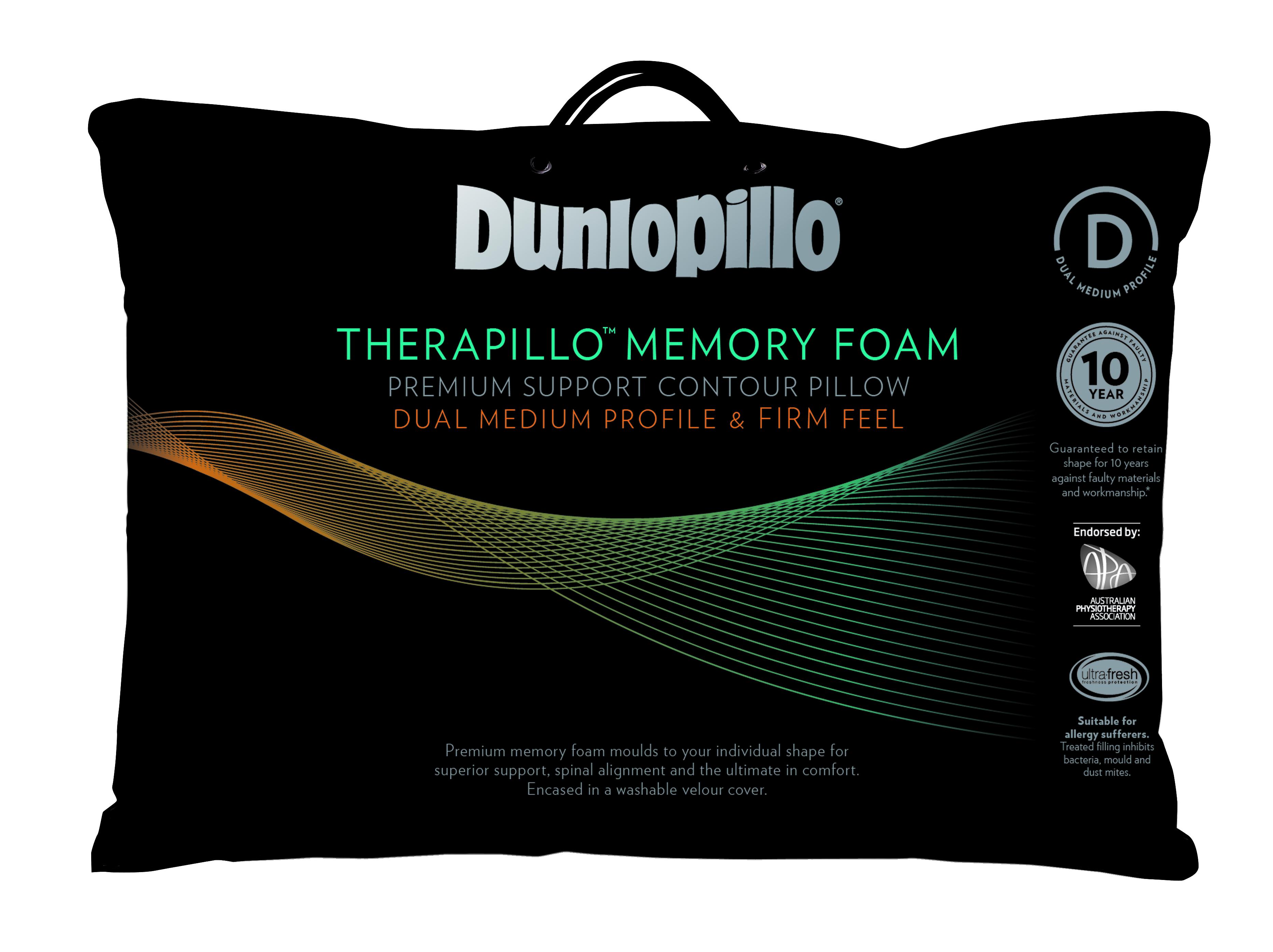 Dunlopillo Premium Memory Foam Pillow Contoured High Profile